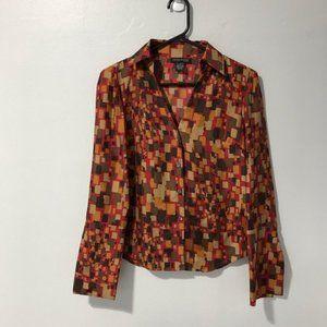 Kenneth Cole New York Plaid 100% Silk Blouse